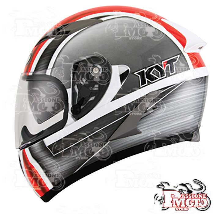 Casco Kyt Falcon Sim White Red Fluo